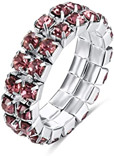 Chic Chelsea 2 Row Crystals Stretch Ring