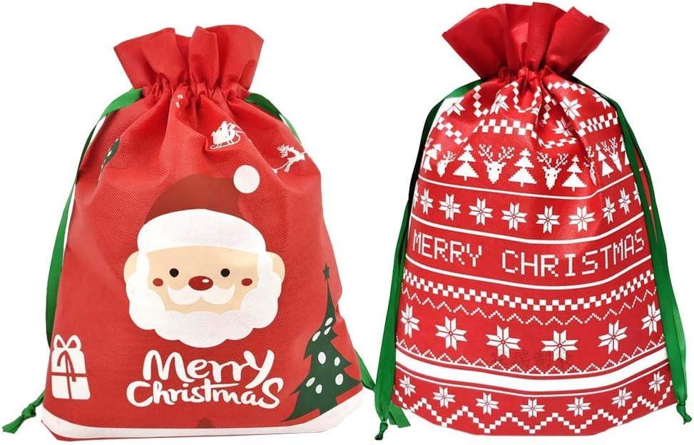 Bolsas con cordón de Navidad,12 unidades de bolsas de regalo de fiesta de Navidad con bolsas de envoltura de cuerdas con letras de Navidad, bolsa regalo de tela no tejida para fiesta de Navidad