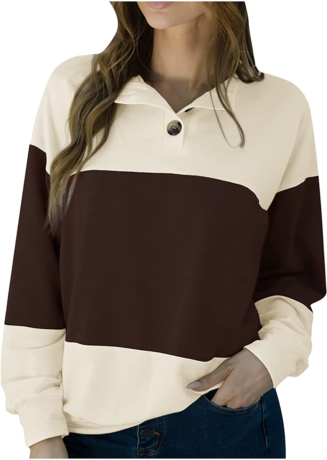 Sweatshirt for Women,Women'S Tops O-Neck Buttons Lapel Pullover Casual T-Shirt Fall Patchwork Long Sleeve Ladies Loose Blouse