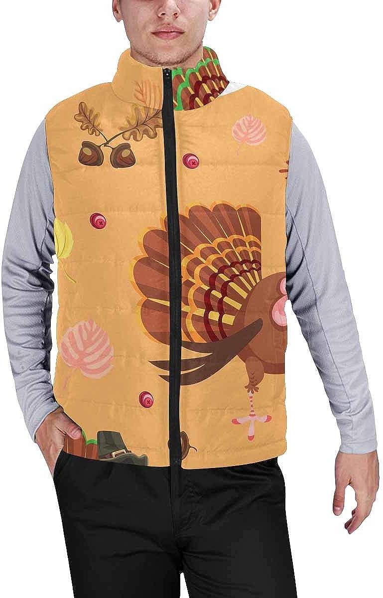 InterestPrint Men's Full-Zip Padded Vest Jacket for Outdoor Activities Cartoon Turkey Character in Hat with Harvest, Leaves XXL