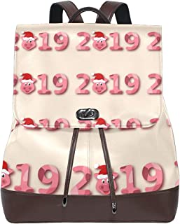 Leather Christmas Tree With Pigs Pink Backpack Daypack Bag Women