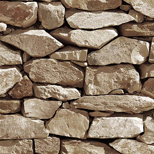 Akea Stone Wallpaper 3D Fake Faux Rock Stone Pattern Wall Paper Roll for Home Kitchen Decor 20.8'x 33ft (57804)