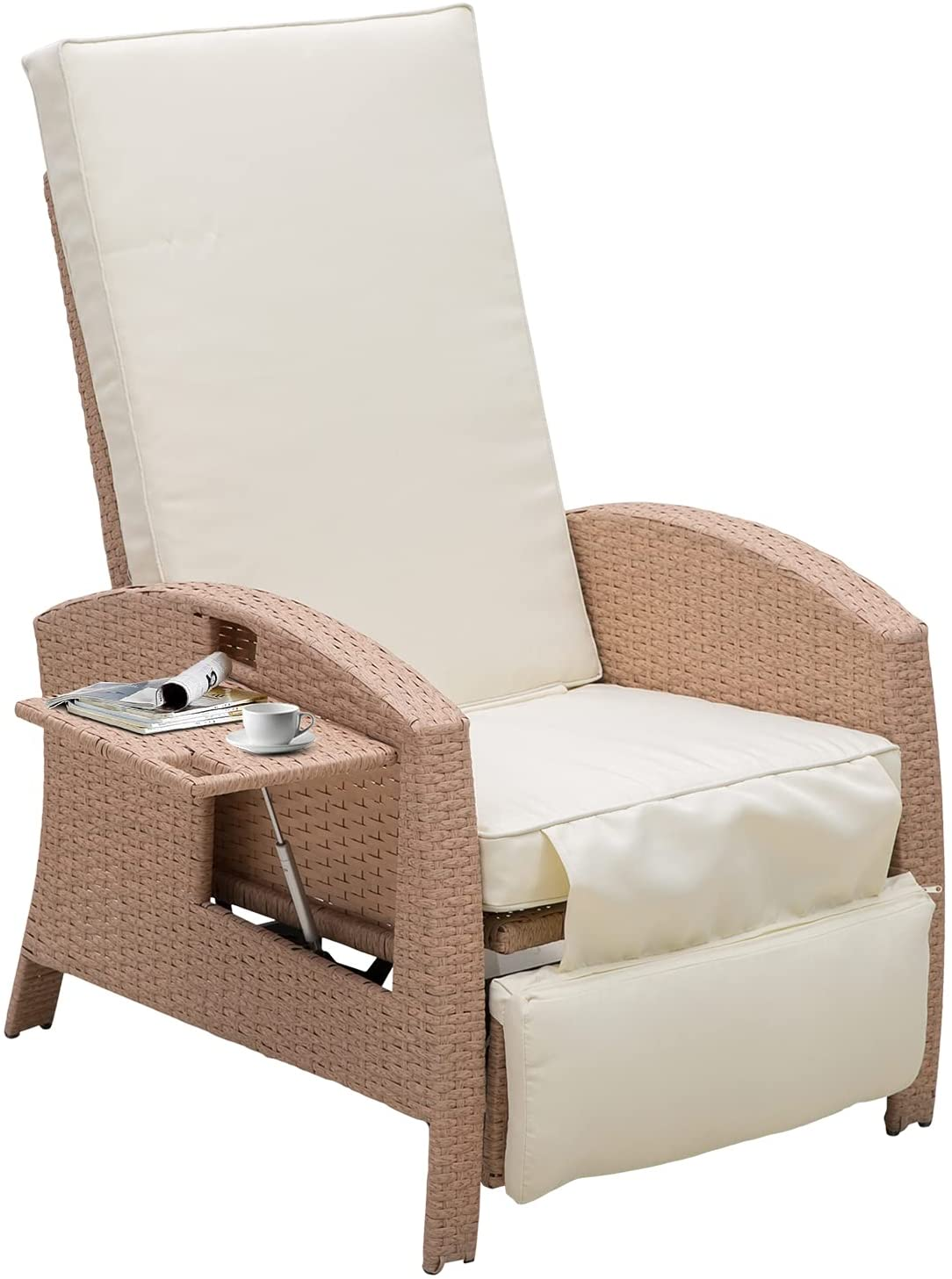 Outsunny Rattan Wicker Recliner with Regular discount Popular Side Table Adjustable Back