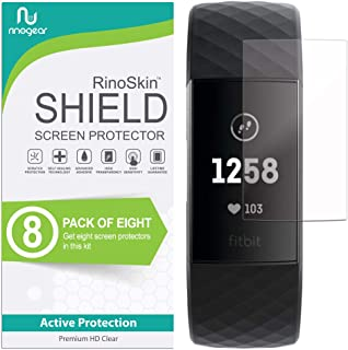 (8-Pack) RinoGear Screen Protector for Fitbit Charge 3, Charge 3 SE Case Friendly Fitbit..