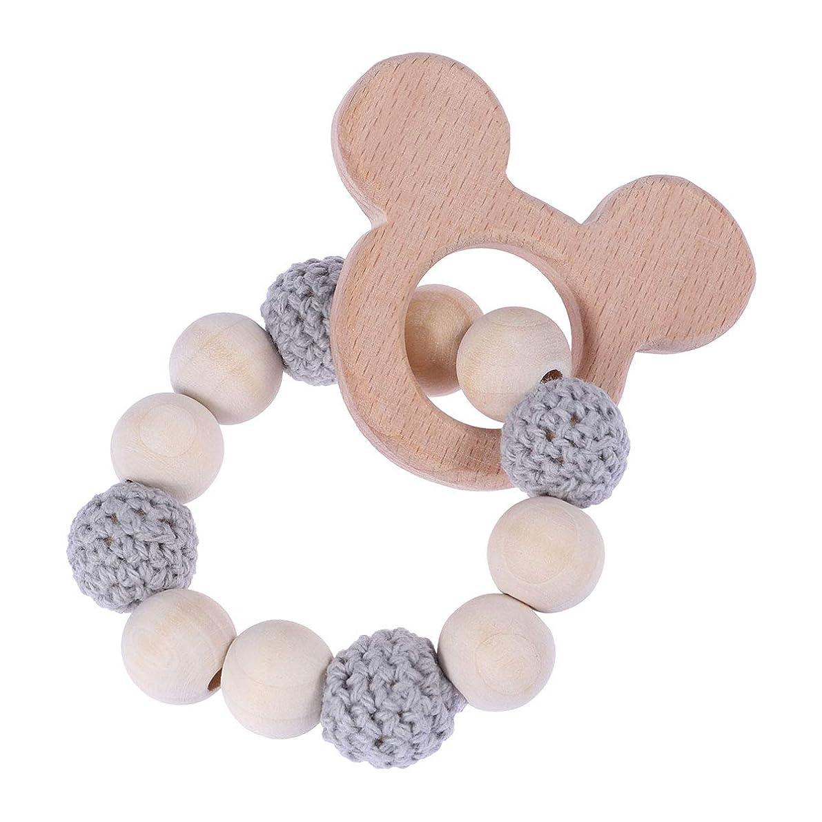 Healifty ベビーファッションジュエリーかぎ針編みビーズ木製DIYブレスレットベビーおもちゃ赤ちゃんTeether写真小道具(グレー)