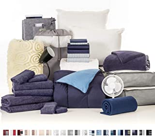 College Dorm Room Essentials 27-Piece Varsity Collection, Twin XL Bedding & Bath Set with Mattress Pad, Topper, Pillows, Sheets, Towels, Comforter and More in Navy and Oxford Stripe