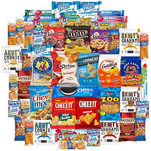Cookies Chips & Candy Snacks Assortment Bulk Sampler by Variety Fun (Care Package 50 Count)