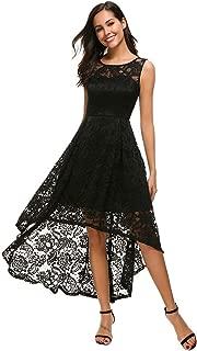 Unifizz Women's Vintage Floral Lace Sleeveless Hi-Lo Cocktail Formal Swing Dress