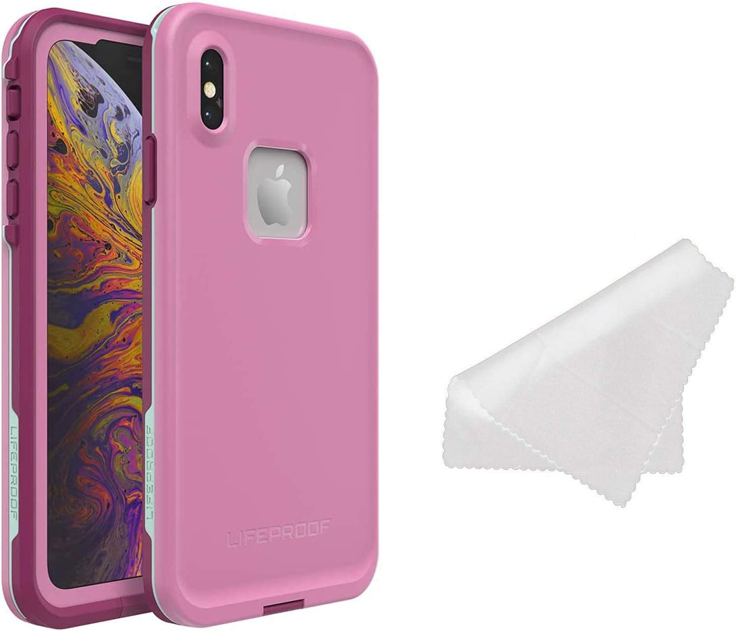 LifeProof FRĒ Series Waterproof Case for iPhone Xs Max (ONLY) with Cleaning Cloth - Retail Packaging - Frost BITE (Orchid/Purple Wine/FAIR Aqua)