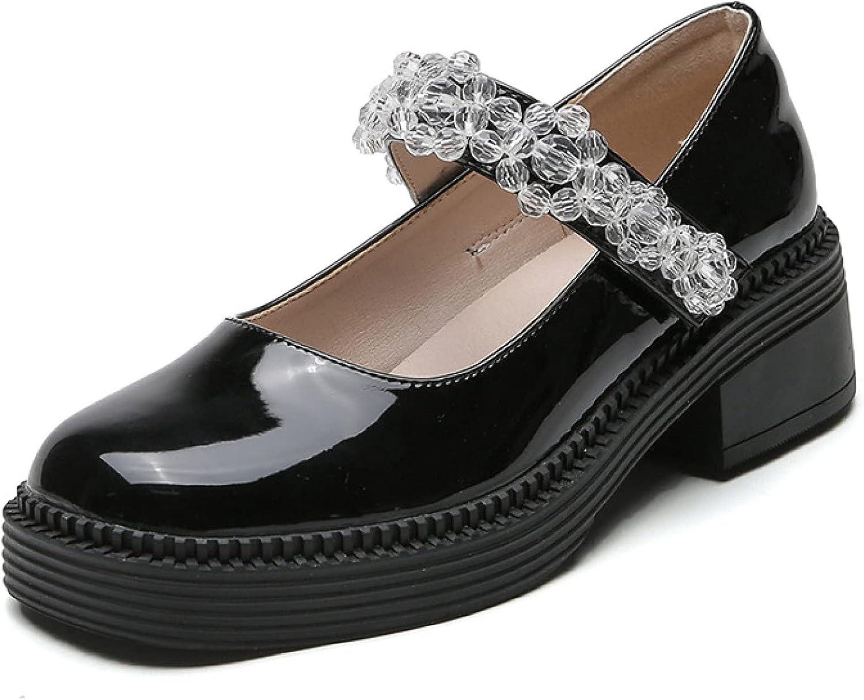 Btrada Women's Chunky Popular popular Heel Baltimore Mall Closed Toe Sweet Crys Mary Jane Pumps
