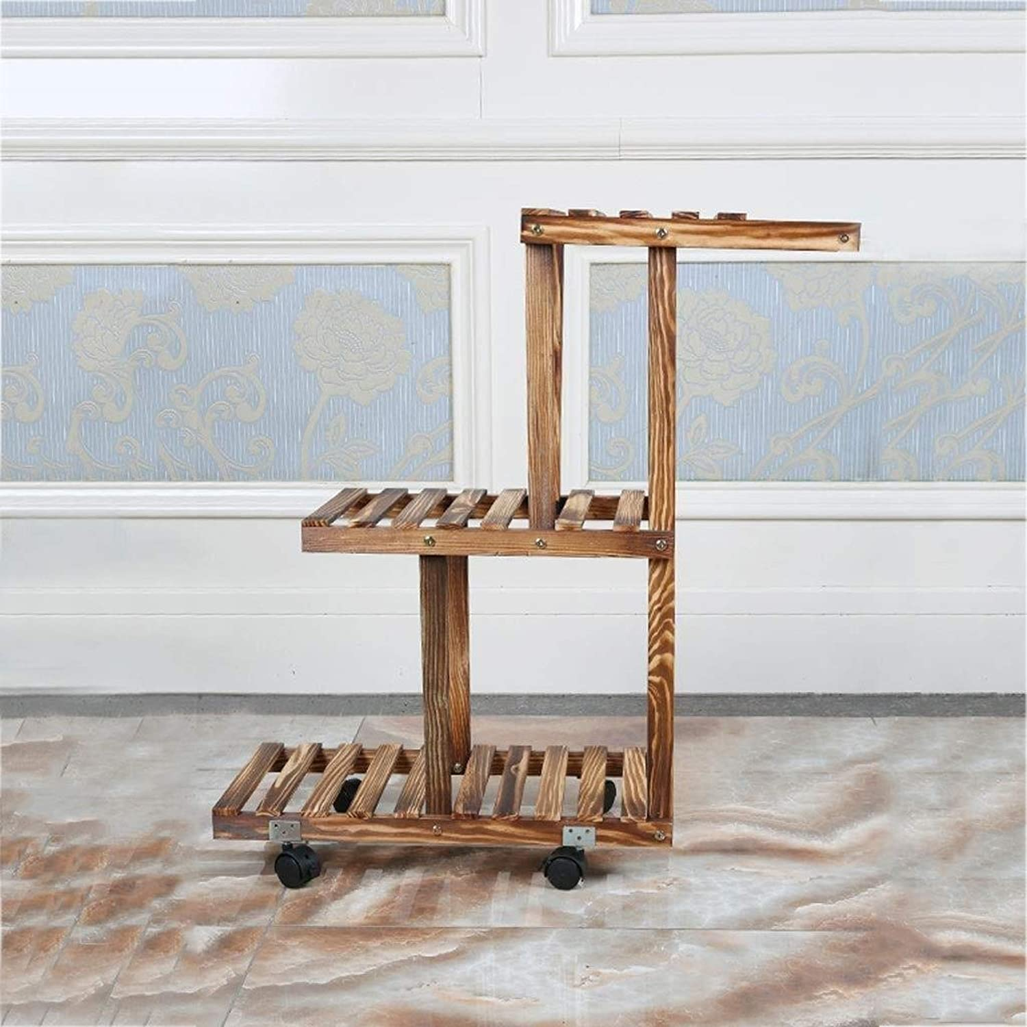 Flower Stand - Wooden Floor-Standing Multi-Layer Plant Display Stand, Balcony Living Room with Wheel Multi-Function Rack (with Wheels Without Wheels (color   Brown, Size   with Wheels)