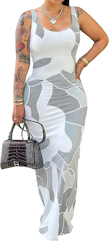 Women's Floral Print Maxi Bodycon Dress Sleeveless Halter Cut Out Back Top Side Slit Skirt Clubwear