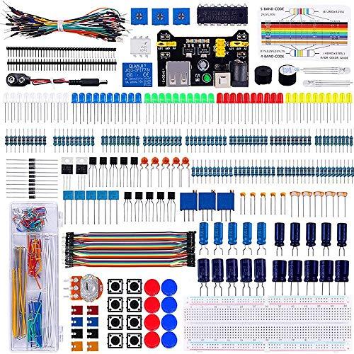 ORIGO Elektronische Komponenten Super-Kit mit Widerstand Transistor RGB Kondensator LED Summer Schalter Potentiometer für Arduino