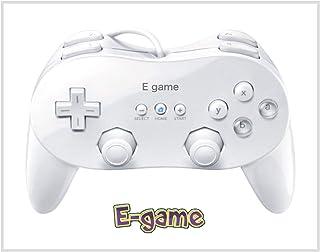 【E-game】 Wii クラシックコントローラ PRO (Wii WiiU バーチャルコンソール対応)クロス & 日本語説明書 & 1年保証付き「ホワイト」