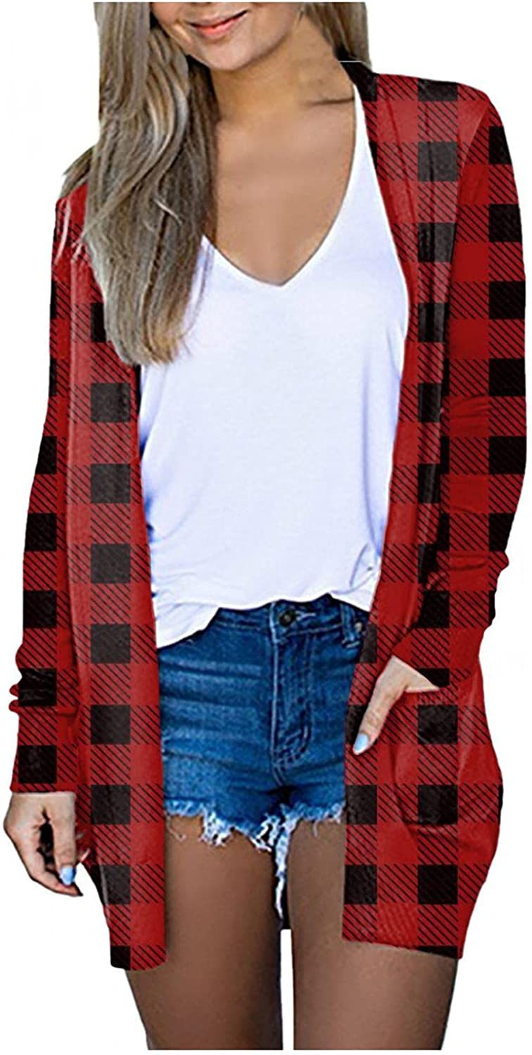Cardigan Sweaters for Women, Women's Solid Casual Long Sleeve Open Front Soft Chunky Knit Sweater Cardigan Outerwear with Pockets