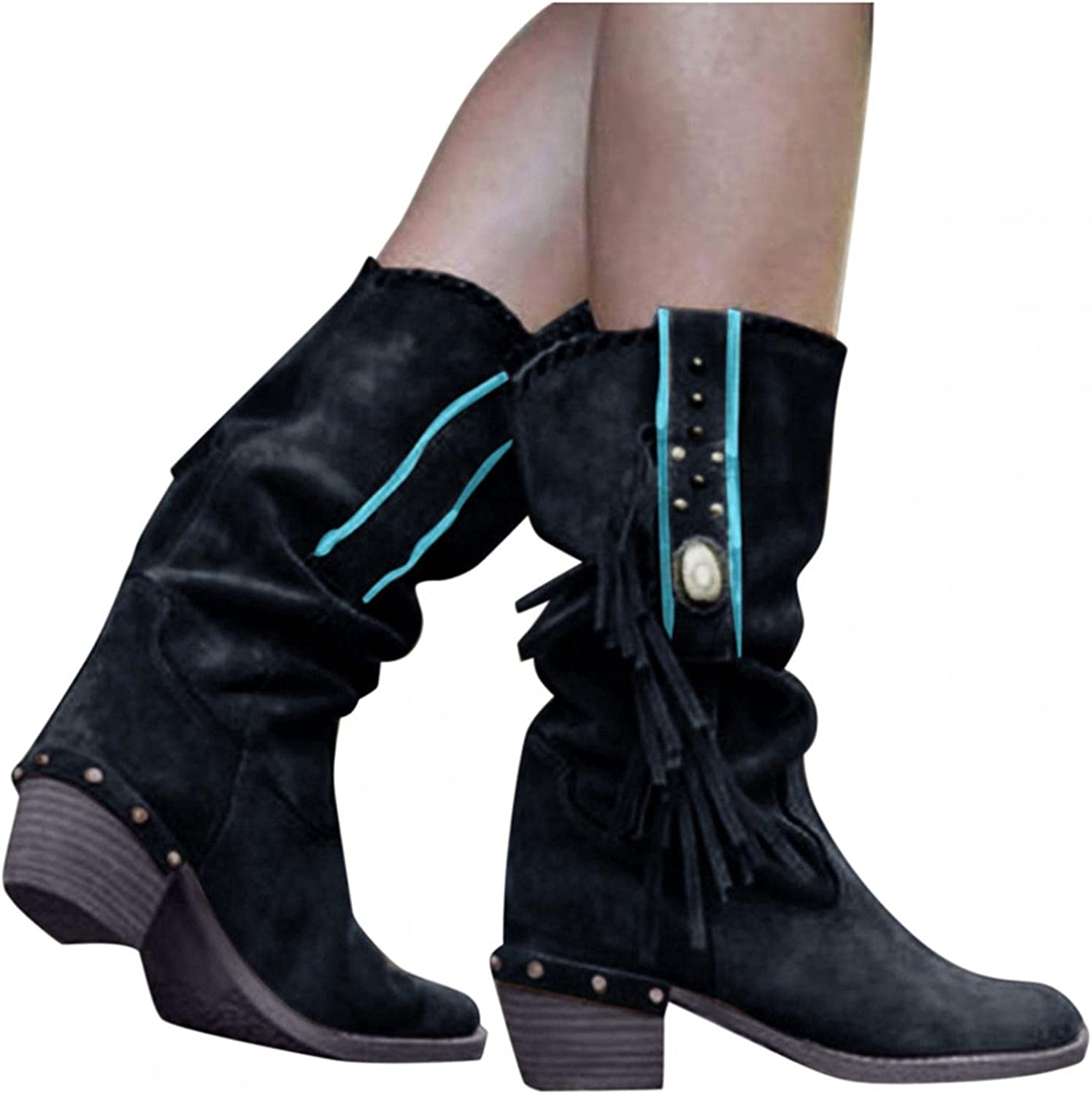 Niceast Boots for Women Casual Square Heels Womens Shoes Retro Fringed Mid Calf Boots Fashion Comfortable Warm Booties