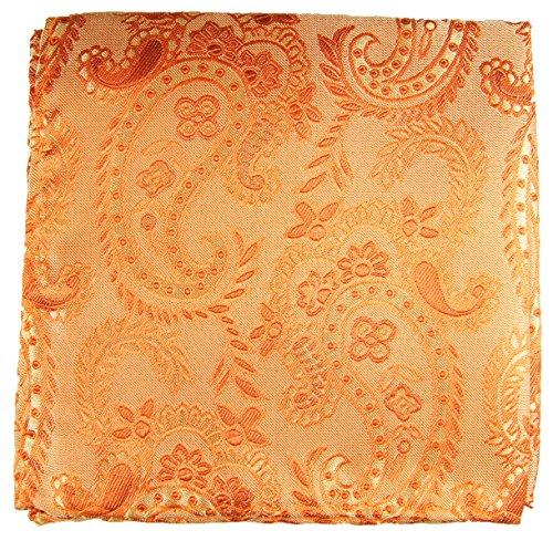 Paul Malone de carré de poche mouchoir 100% soie Orange paisley
