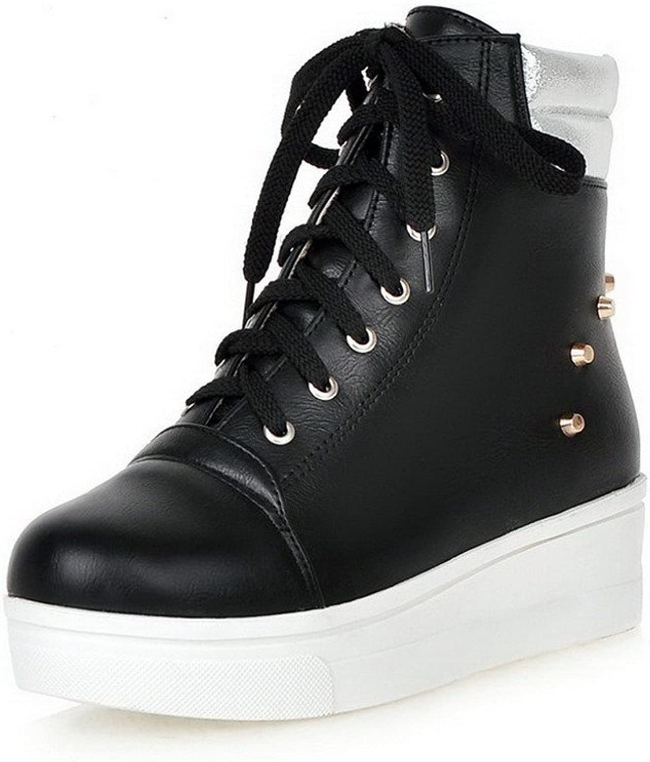 WeiPoot Women's Low-top Lace-up Soft Material Kitten-Heels Round Closed Toe Boots with Rivet