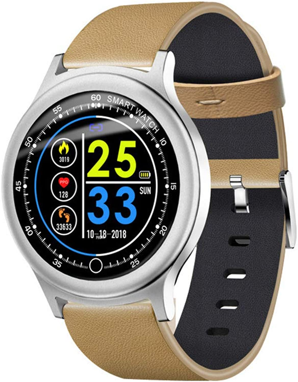 JAY-LONG Intelligente Sportuhr, Fitness-Tracker, Herzfrequenz-Blautdrucküberwachung, Nachrichten-Push, Anruferinnerung, Multi-Sport-Modus, Sport-Schrittzhler,Silber,B