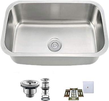 Oakland Ksu2718 Undermount 27 Kitchen Single Bowl Sink 304 Stainless Steel 18 Gauge Amazon Com