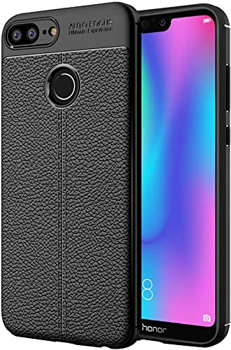 Jotech Leather Textured Autofocus Soft Back Case Cover for Honor 9 Lite Black