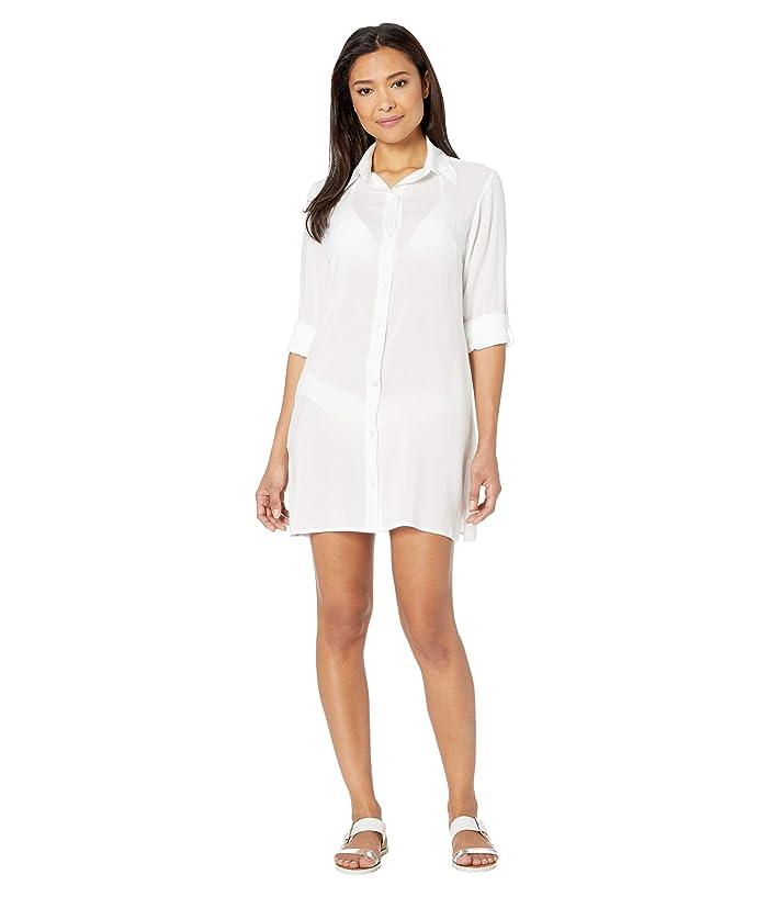 Bleu Rod Beattie  Under Cover Rayon Shirt Cover-Up (White) Womens Swimwear