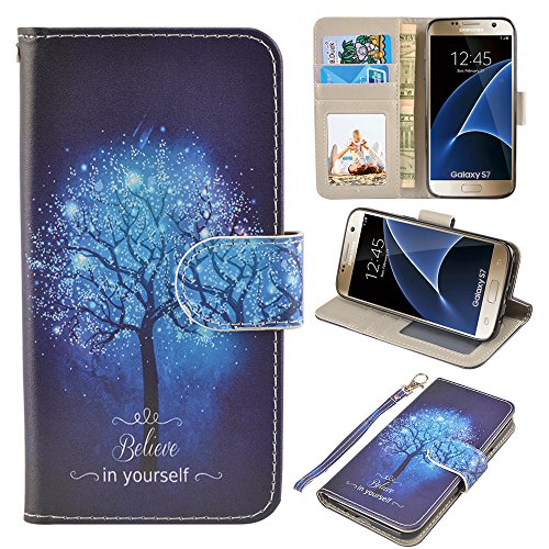 S7 Case, UrSpeedtekLive Galaxy S7 Wallet Case, Premium PU Leather Wristlet Flip Case Cover with Card Slots & Stand for Samsung Galaxy S7, Believe in Yourself