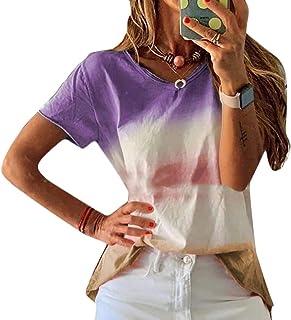 Suncolor8 Women Summer Gradient Color Plus Size Short Sleeve Loose Fit Blouse Top T-Shirt