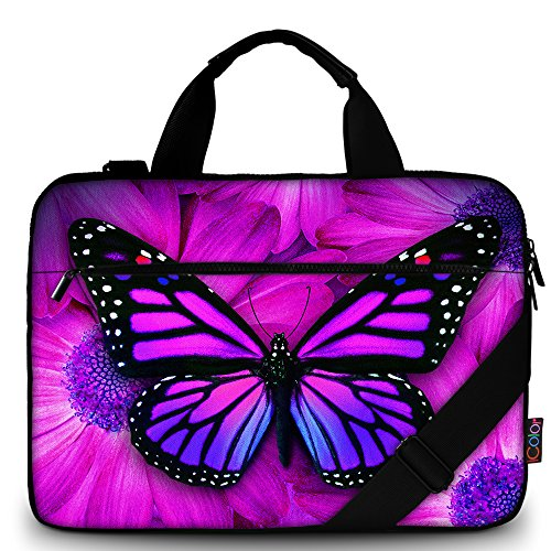 iColor Butterfly Canvas Laptop Carrying Shoulder Sleeve Carrying Case Protective Bag Briefcase for 11.6 12 12.9 13 13.3 Inches Laptop Ultrabook Netbook CSH-02