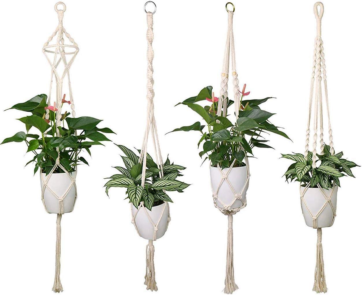 Luxbon Set van 4 Macramé Plantenhanger Hangende Bloempot met Katoenen Touw Plantenhouder - voor Binnen en Buiten Plafond Balkon Muur Decoratie 41 inch, 4 poten prijskenner