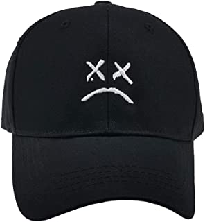 Women Men Hip Hop Cap ,Sad face Dad Hat Embroidery Baseball Hat, Cap,Golf Love Snapback Women Men Black