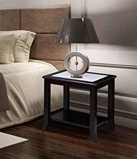 Olee Sleep Classic Calacatta Natural Marble Top Solid Wood Edge Coffee Table/ Tea Table / End Table/ Side Table/ Office Table/ Computer Table / Vanity Table/ Dining Table, (White/Black)