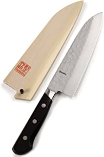 Syosaku Japan Multi-Purpose Knife Aoko(Blue Steel)-No.2 Black Pakkawood Handle, Santoku 7-inch (180mm) with Magnoila Wood Saya Cover