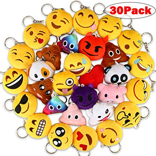 Review Dreampark Emoji Keychains, Mini Emoji Plush Party Favors for Kids Christmas Birthday Party Su...
