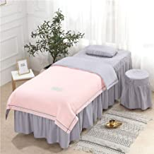 Beauty Salon Ruffle Bed Skirt,SPA Massage Table Mattress Cover Double Sided Tencel Velvet Fabric-Four-Piece Suit