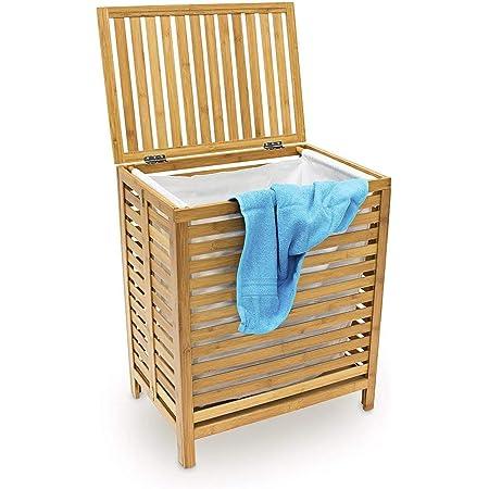 uyoyous Panier à linge en bambou pliable Panier de rangement des vêtements sales Grand avec sac de rangement, env. 48 x 38 x 66 cm (L x l x h)