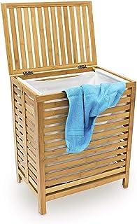 uyoyous Panier à linge en bambou pliable Panier de rangement des vêtements sales Grand avec sac de rangement, env. 48 x 38...