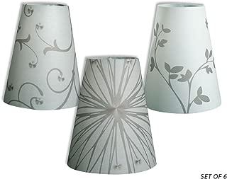 Royal Designs Flower Silhouette Vellum Paper Wine Glass Tea Light Lampshade- Party Centerpiece - Set of 6 - TLS-141516-6