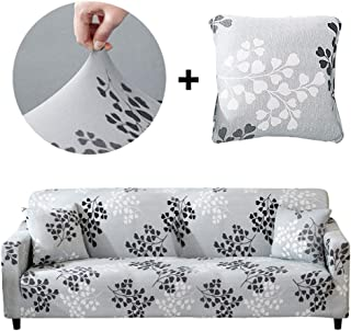 Bikuer Printed Sofa Cover Stretch Couch Cover Sofa Slipcovers for 3 Cushion Couch with 2 Free Pillow Case (Sofa, Silver Leaves)