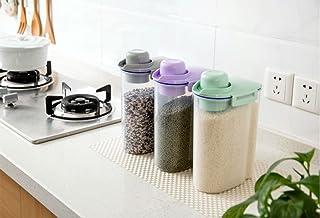 Asentech プラスチック製の気密穀物食品飼料貯蔵容器 密閉米びつ 小麦粉抗菌タンク米びつ冷蔵庫用容器 約2.5L (グリーン)