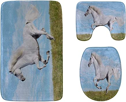 Horse Runs Freely On The Grassland Bathroom Rug Mats Set 3-Piece,Soft Shower Bath Rugs,Contour Mat and Toilet Seat Lid Cover Non-Slip Machine Washable Flannel Toilet Rugs