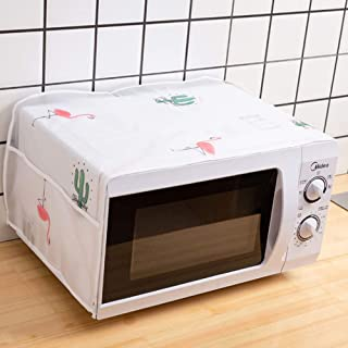 Microwave Oven Cover Dustproof Machine Protector Decorative Kitchen Appliance Cover with Side Storage Pockets (color1)