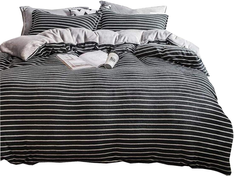 Newrara Grey Striped Bedding Coral Velvet Bedding Double Double