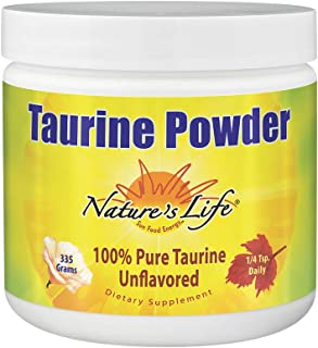 Nature's Life Pure Taurine Powder, Unflavored | Sulfur-Bearing Amino Acid For Healthy Cardiovascular & Nerve Function Supp...