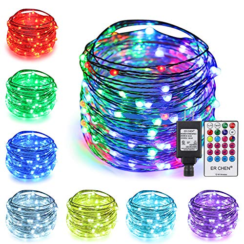 ErChen 64 Modes 7 Colors + Multicolor LED String Lights, Plug in RF Remote 50 FT 150 Upgraded RGB LEDs Color Changing Silver Copper Wire Fairy Lights with Timer for Indoor Outdoor Christmas