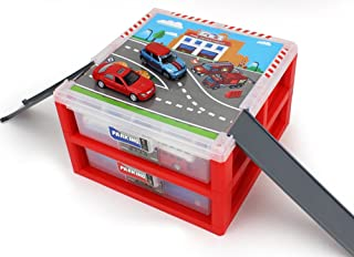 AITING Mini Parking Lot Vehicle storage box Toy Vehicle Garages Red