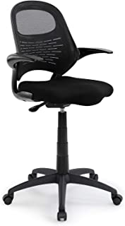 Ergonomic Mid-Back Mesh Forward-Tilting Drafting Stool with Flip-up Arms and Auto-Brake Casters, Standing-Desk Matched Swivel Computer Office Chair, Black