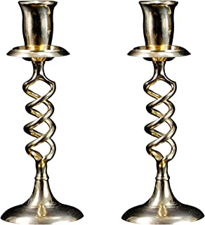 3SCompany Candle Holder Spiral Brass Pair