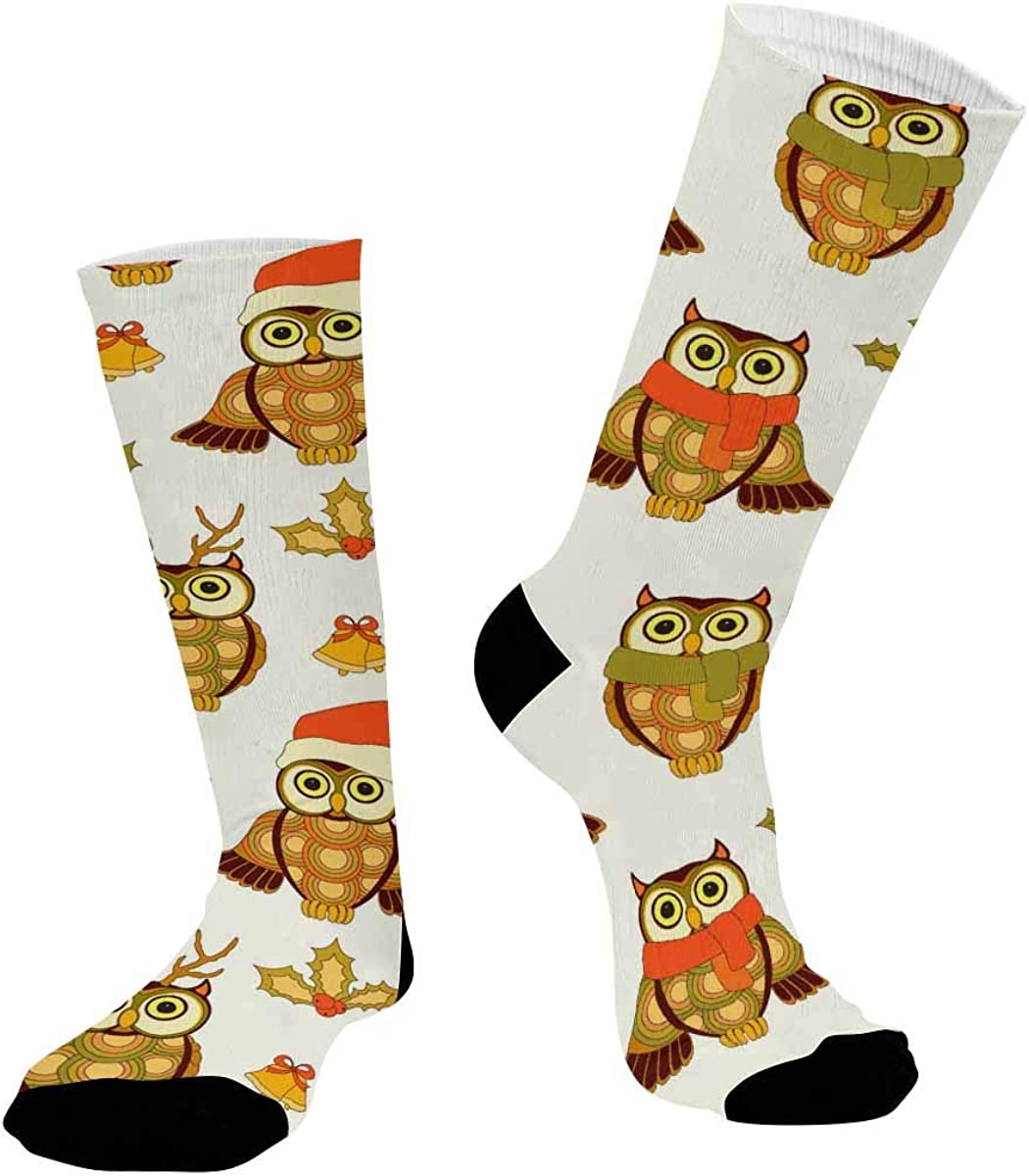 INTERESTPRINT Sublimated Crew Casual Athletic Socks Christmas Owls and Bells