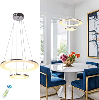 Modern Pendant Light, CHYING Acrylic 2-Ring 30W LED Hanging Lights Dimmable Ceiling Light Chandeliers Dimming Adjustable Height Fixture for Kitchen Island, Dining Room, Restaurant